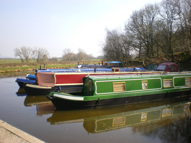 Narrow boats moored at The Boat Yard marina