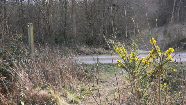 Serpent Trail crosses private road in Lord's Wood