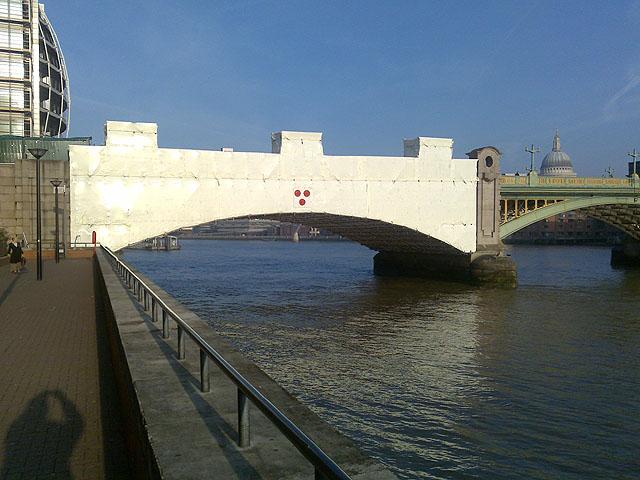 The South End of Southwark Bridge Under Wraps