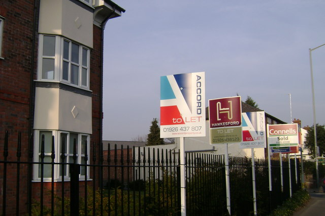 Agents' signboards, Emscote Road, Warwick
