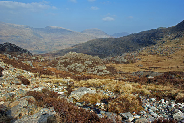 Looking down Cwm Tryfan towards the Carneddau