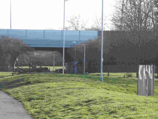 M1 underpass corner of Kestrel Way and Ravenhill Way
