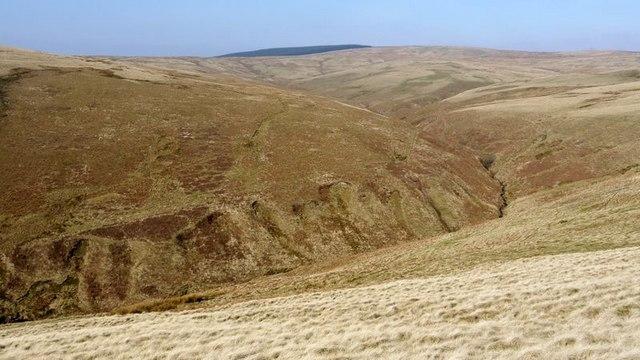 The deep valley of Biddlestone Burn