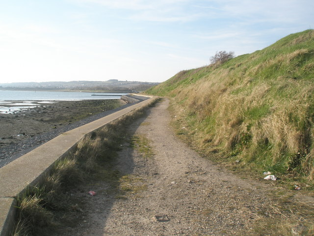 Coastal path looking westwards at the end of Southmoor Lane