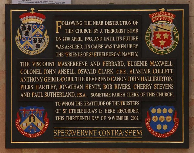 St Ethelburga, Bishopsgate, London EC2 - Memorial