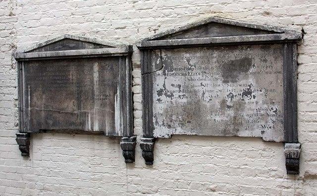 St Ethelburga, Bishopsgate, London EC2 - Wall monuments in Memorial Garden