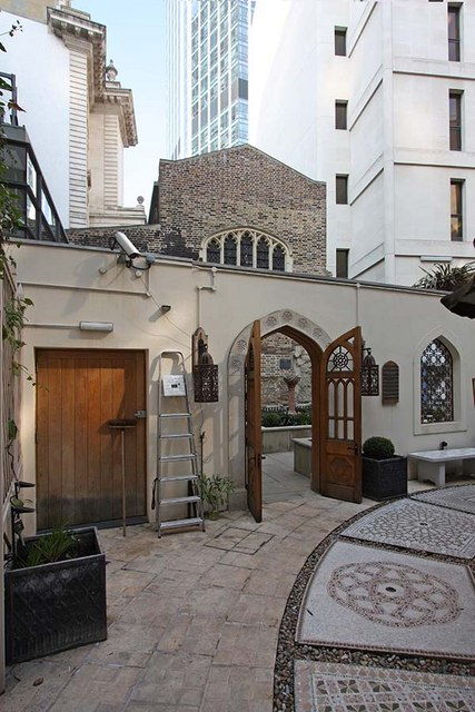 St Ethelburga, Bishopsgate, London EC2 - Exterior from Memorial Garden