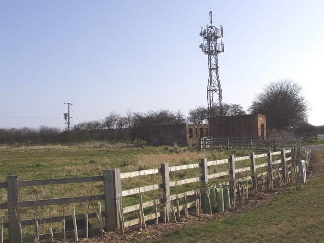 Radio Mast and Disused Buildings.