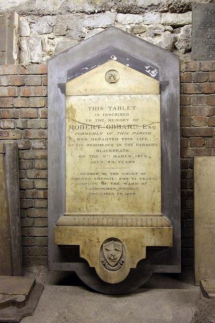 St Bride, Fleet Street, London EC4 - Monument in crypt