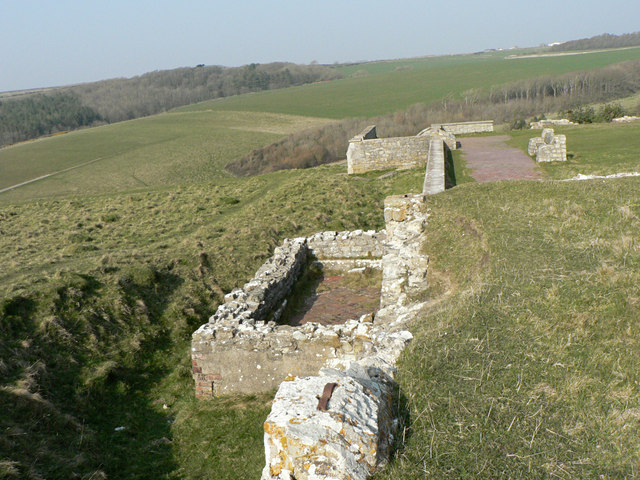 Outer wall, Dunraven Castle remains.