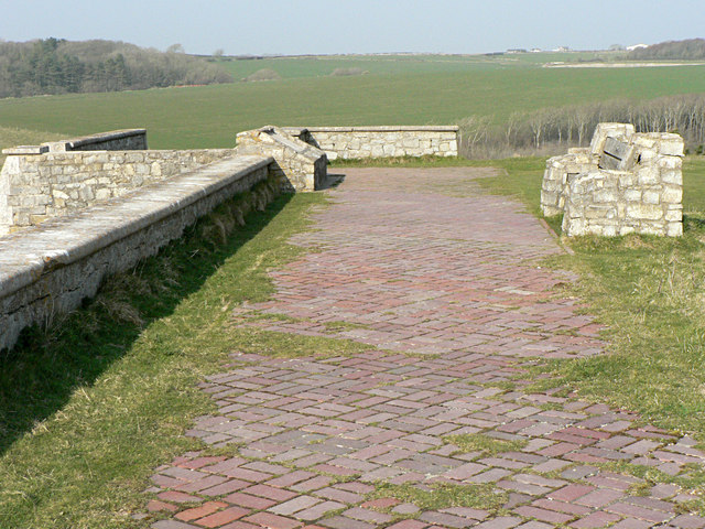 Brick paving and bench, Dunraven Castle remains.