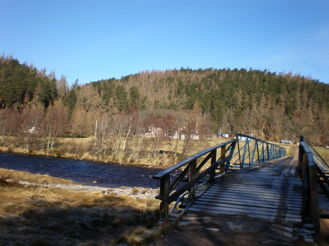 Bridge over the River Findhorn with Drynachan Lodge in background