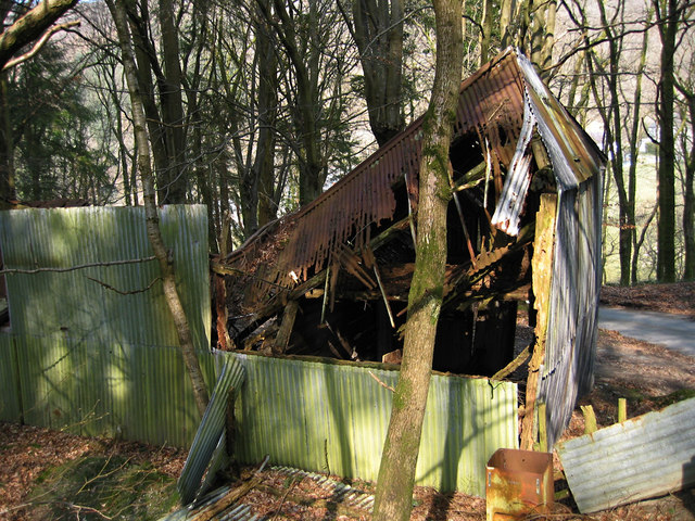Wrecked building near Aberhosan