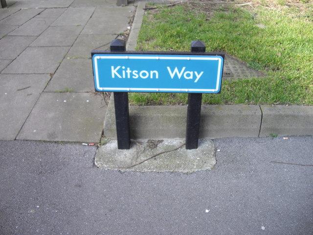 Street sign 'Kitson' Way Harlow