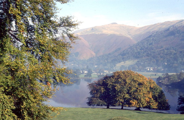 Grasmere lake with Grasmere village on the far shore