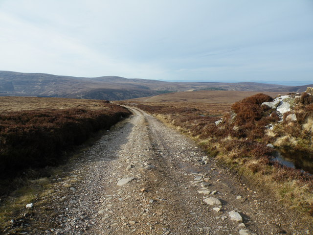 Moorland Track on Carn na Sguabaich heading for the Findhorn