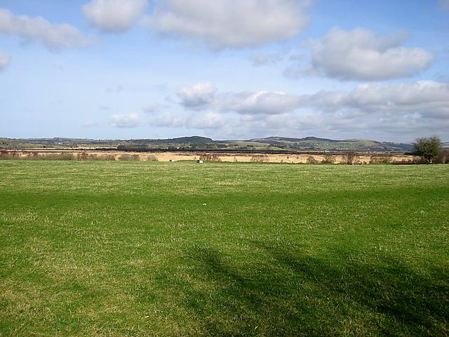 View across fields near Maes-llyn, Cors Caron