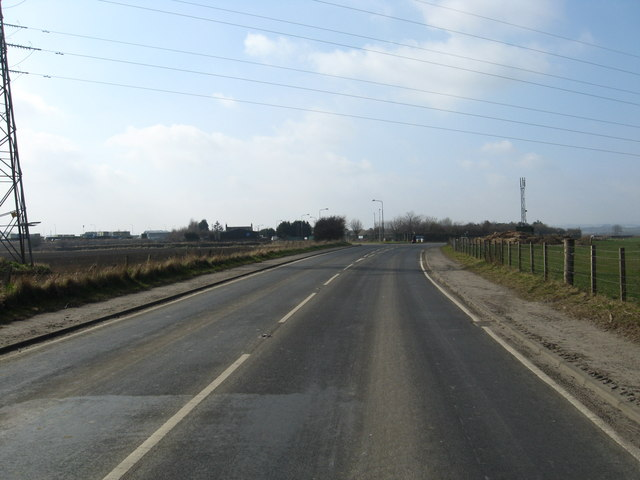 The B7015 heading towards East Calder
