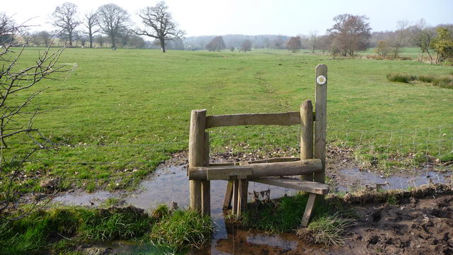 Stile and footpath.