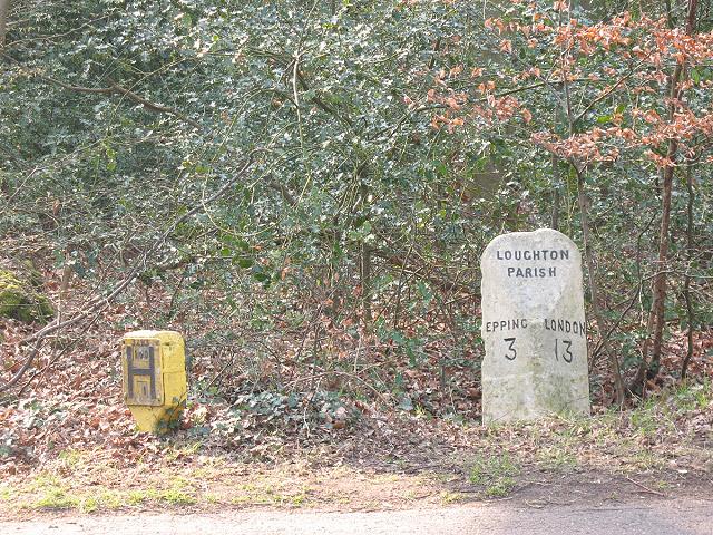 Milestone on Golding's Hill, near Loughton