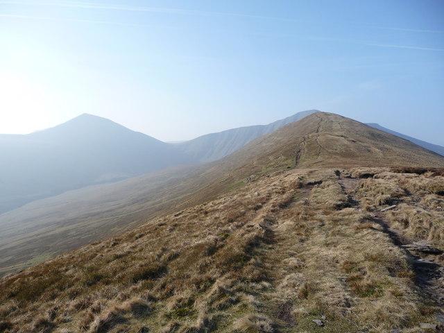 The Beacons loom above Cefn Cwm Llwch.