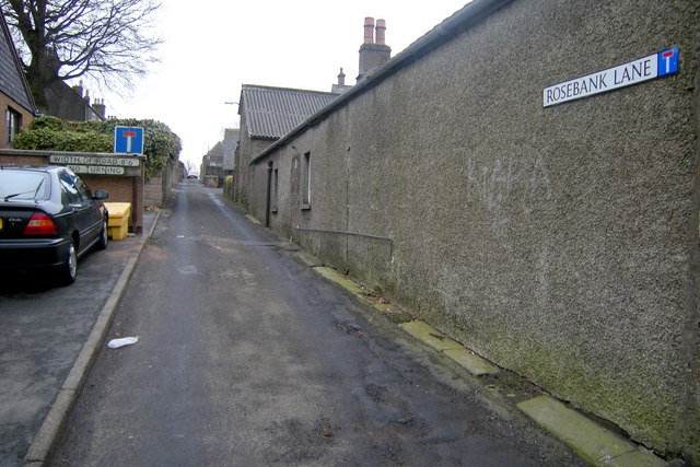 Rosebank Lane, Forfar near its junction with St James Road