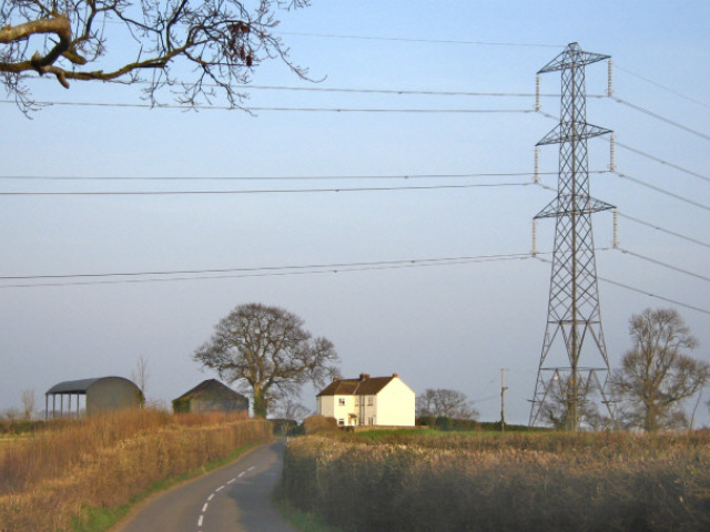 Pylon over Hollands Cottages