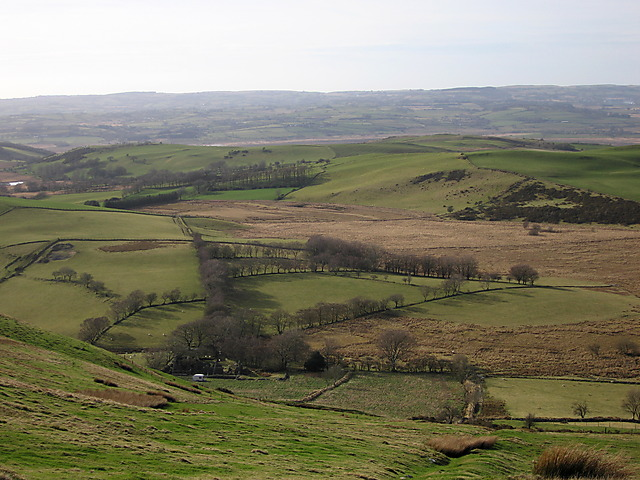 Farmland below y Bryn