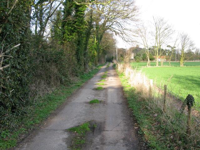 View along farm track towards Sandown Road