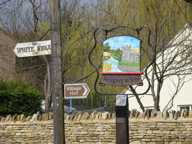 Village sign, Woodnewton