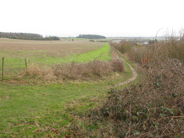 Looking S along field boundary with the A256