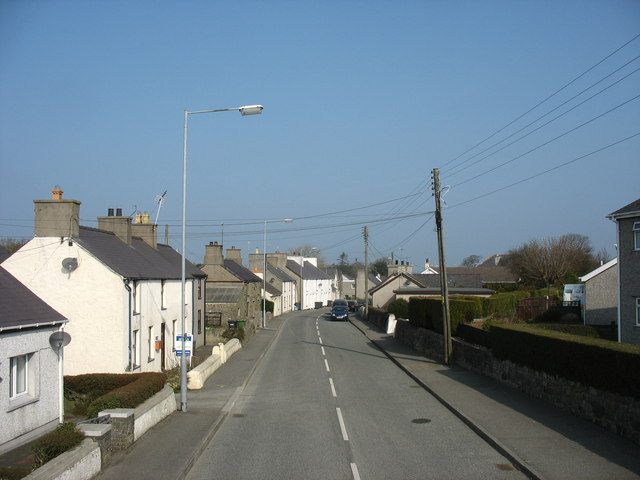View North along the main street of the village of Penysarn
