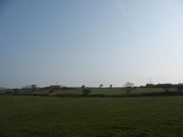 View across fields towards Tyddyn-igin Farm