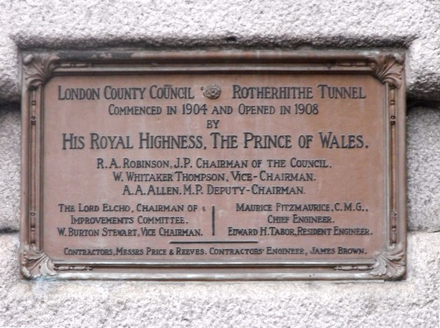 Rotherhithe Tunnel (north) commemoration plaque