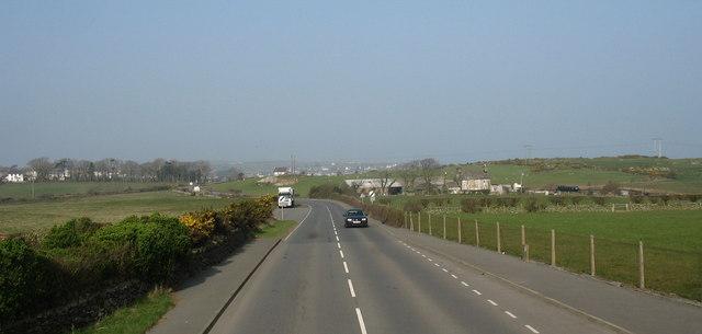The A5025 near Parc-mawr Farm
