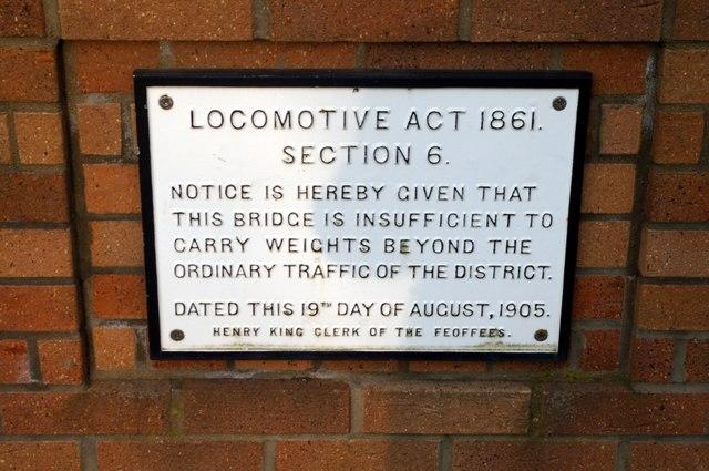 Plaque on Somersham bridge