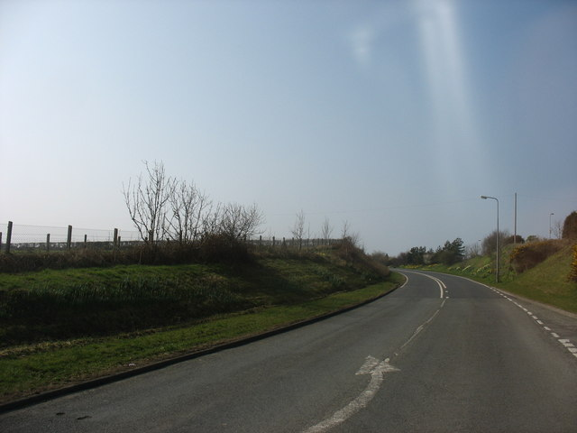 The eastern end of the Cemaes bypass on the A5025