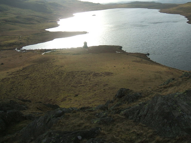 Afternoon sun on Devoke Water from Seat How