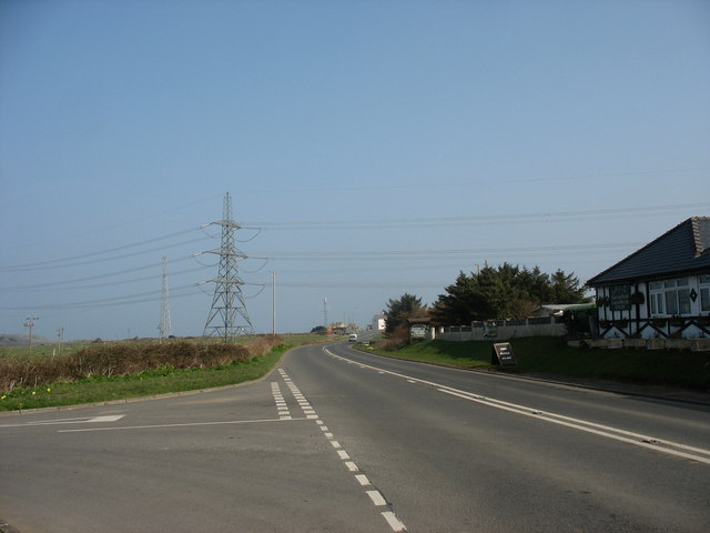 View North along the Tregele bypass