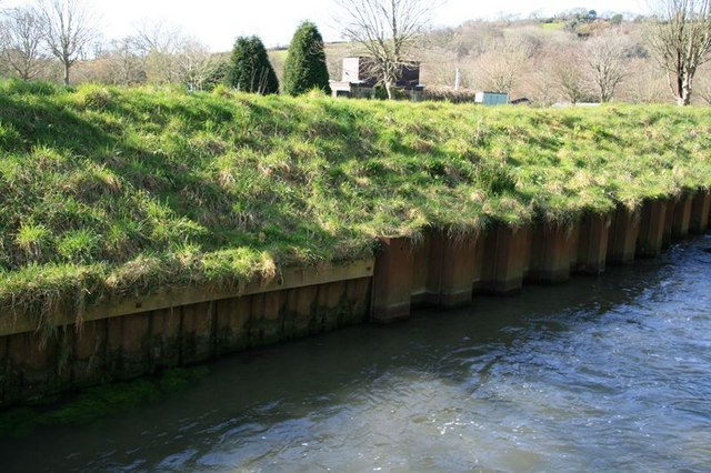 Bank reinforcements on the St Austell River