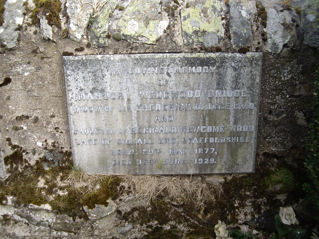 Memorial plaque to Marjory, Lady Bridge