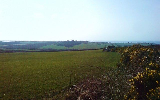 Across fields to Roch Castle and St Bride's Bay