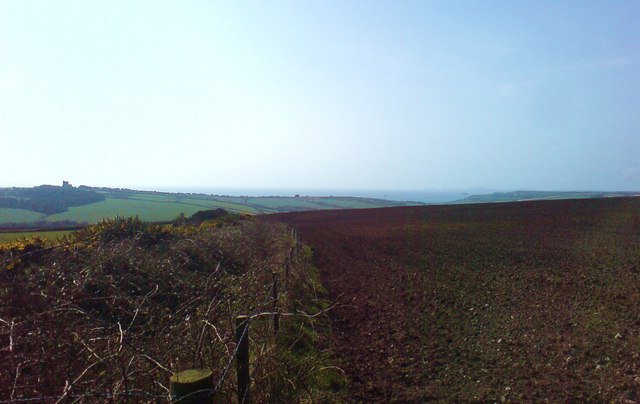 Across fields to distant Newgale