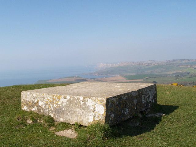 Stone slab on the tumulus on Swyre Head