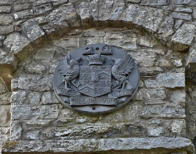 Heraldic arms on the tower, Dunraven Park walled garden.