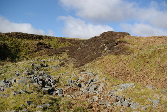 Ruined foundations at the site of the Auchenlongford hematite mine