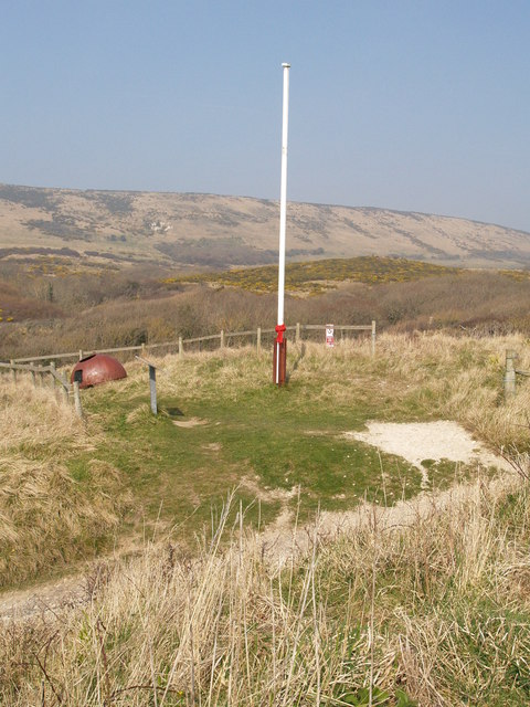 Flag Pole and WWII defences at Worbarrow Bay