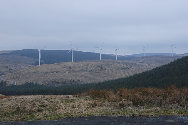 View towards Cefn Croes Wind Farm