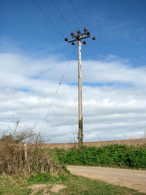 Electricity pole beside Heath Lane