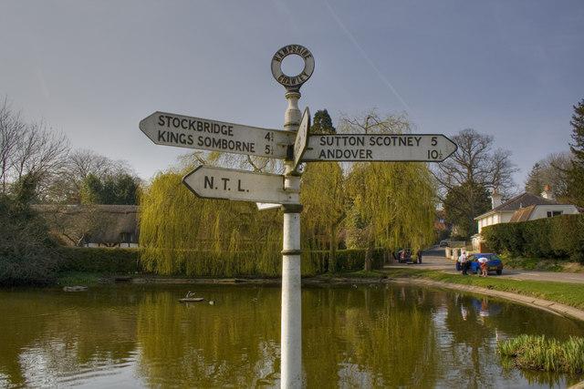 Signpost at the Village Pond - Crawley
